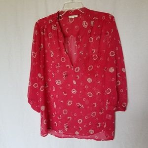 Pleione red floral 3/4 sleeve blouse size large